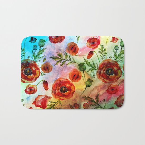 Poppy LOVE pattern- Poppies and Flowers on colorful watercolor background  on #Society6 Bath Mat
