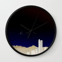 denver Wall Clocks featuring Denver Flyby by Augustina Trejo
