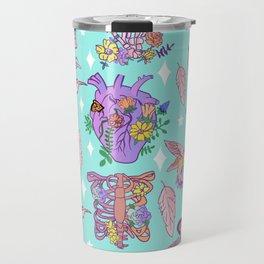 Pastel Goth Floral Morbid Anatomy Kawaii Witchy Travel Mug