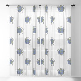 Save The Planet Concept Pattern Sheer Curtain
