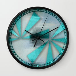 Turquoise Triangles On Blue Grey Backdrop Wall Clock