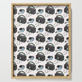 Cute retro boombox and headphones cartoon seamless pattern. Serving Tray