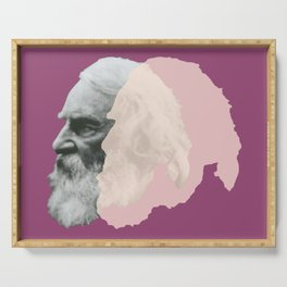 Henry Wadsworth Longfellow - portrait purple and white Serving Tray