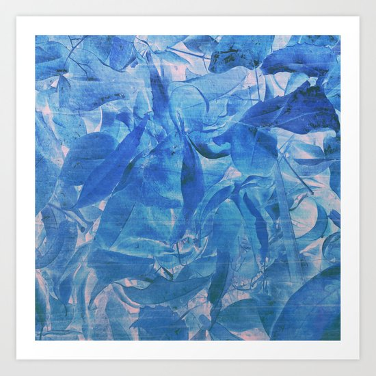 Abstract Blue Leaves Art Print
