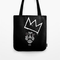 basquiat Tote Bags featuring Biggie Basquiat by Ric_Hardwood