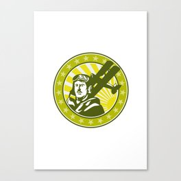 World War 1 Pilot Airman Spad Biplane Circle Retro Canvas Print