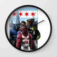 blackhawks Wall Clocks featuring Chicago Sports by Carrillo Art Studio