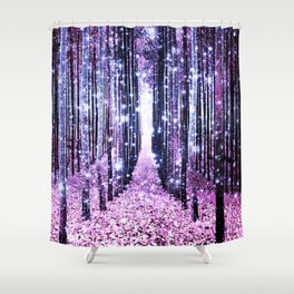 Magical Forest Path Lavender Pink Periwinkle Shower Curtain