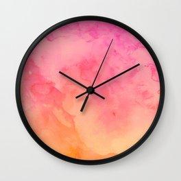 Modern summer hand painted pink orange sunset watercolor wash Wall Clock