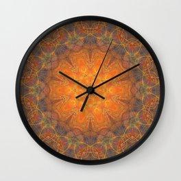 mandala 2 orange #mandala #orange Wall Clock
