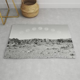 Desert Moon Ridge B&W // Summer Lunar Landscape Teal Sky Red Rock Canyon Rock Climbing Photography Rug