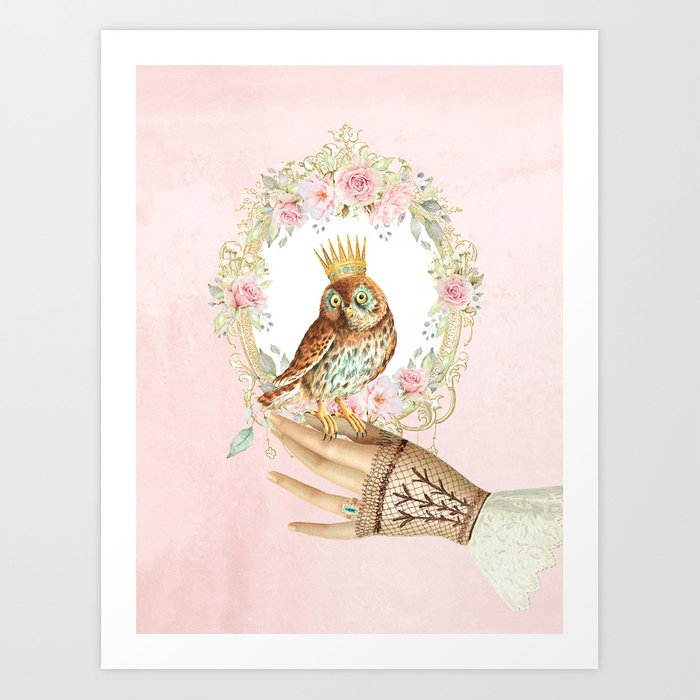 Owl on the hand Art Print