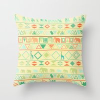 tribal Throw Pillows featuring Tribal by Sunshine Inspired Designs
