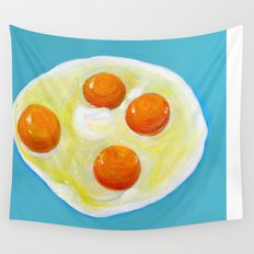Four Fried Eggs  Wall Tapestry