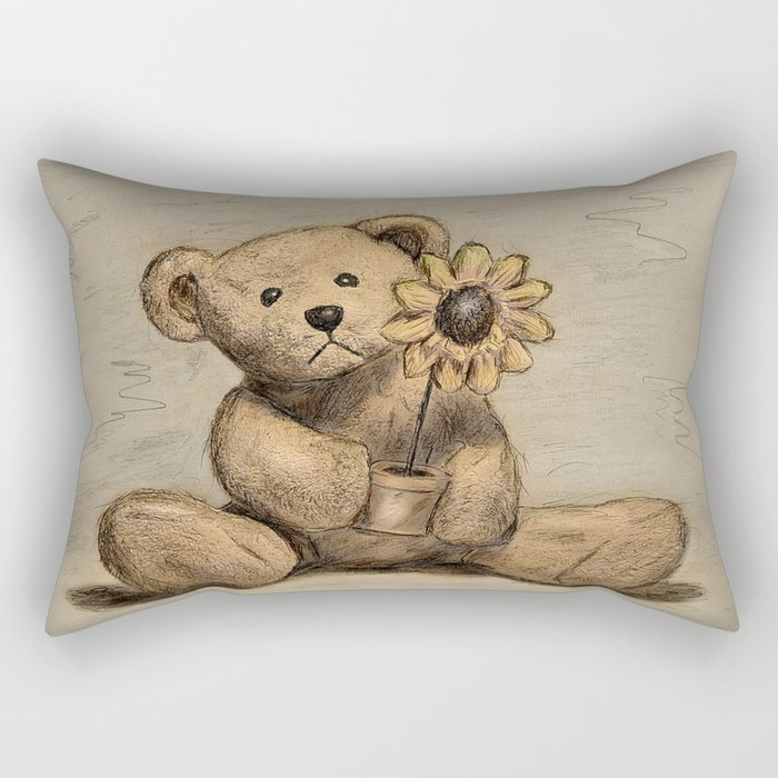 Teddybear with a sunflower Rectangular Pillow