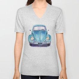 Vintage blue car Unisex V-Neck