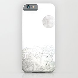 rabbit flower and moon iPhone Case