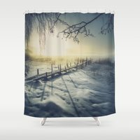 rowing Shower Curtains featuring Winter you winter me by HappyMelvin