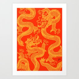 Red and Gold Battling Dragons Art Print