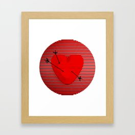 Abstract composition of a heart-shaped target. Framed Art Print