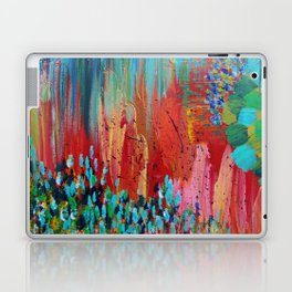 REVISIONED RETRO - Bright Bold Red Abstract Acrylic Colorful Painting 70s Vintage Style Hip 2012 Laptop & iPad Skin