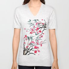 bamboo and red plum flowers in pink background Unisex V-Neck