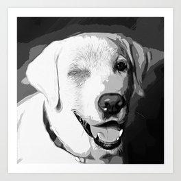 labrador retriever dog winking vector art black white Art Print