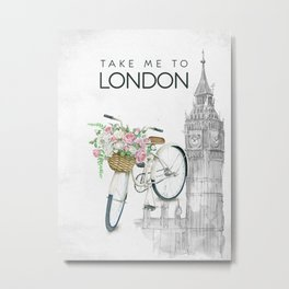 White Vintage Bicycle with Flowers in London Metal Print