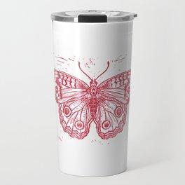 Linocut Red Junonia coenia buckeye butterfly Travel Mug