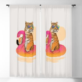 Chillin (Flamingo Tiger) Blackout Curtain