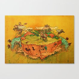 Flying cows rodeo Canvas Print