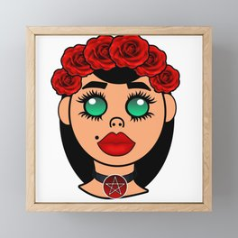 Kawaii Pagan Pentagram Goddess Framed Mini Art Print