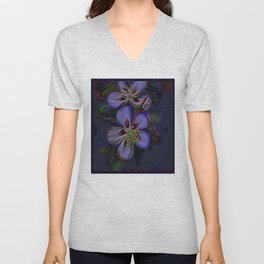 Floral Embosses: Double Columbine 01-02 Unisex V-Neck
