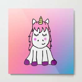 Happy Unicorn Metal Print