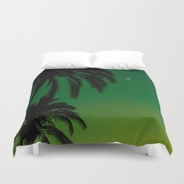 Tropical Palm Tree Silhouette Green Ombre Sunset Crescent Moon At Night Duvet Cover