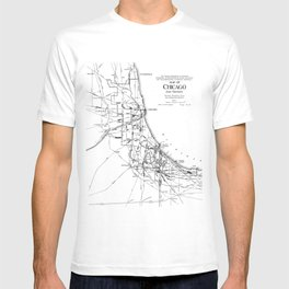 Vintage Map of The Chicago Railroad Network (1913) T-shirt