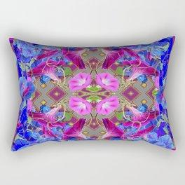 Garden Art  Blue Morning Glories Purple Patterns Rectangular Pillow