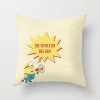 minion Throw Pillows featuring minion by Dripdrop