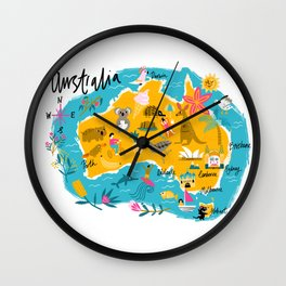 Illustrated map of Australia Wall Clock