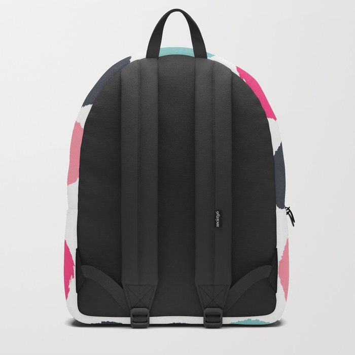 Polka dots painted abstract minimalist bright pink blue and navy dot pattern nursery Backpack