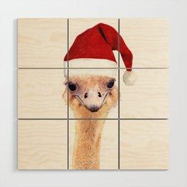 Ostrich Christmas Wood Wall Art