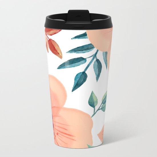 FLOWERS WATERCOLOR 2 Metal Travel Mug