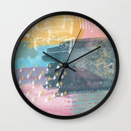 Bright pastel color abstract art work - brush strokes and geometric lines Wall Clock