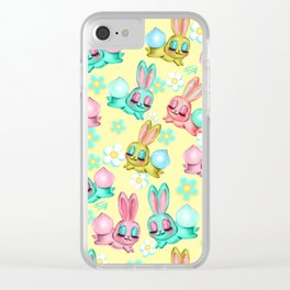 Bunnies and Daisies on Yellow Clear iPhone Case