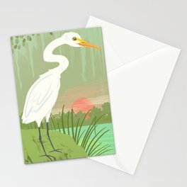 Snowy egret Stationery Cards
