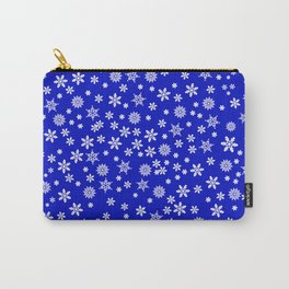 Snowflakes on Dark Blue Carry-All Pouch