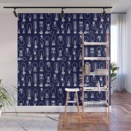 Light Bulbs - White on Navy Wall Mural