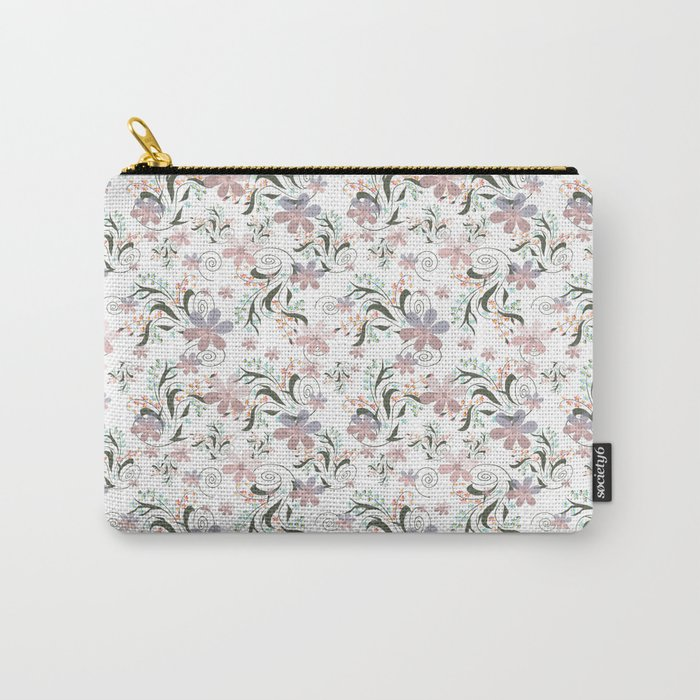 Pink blue flowers .22 Carry-All Pouch