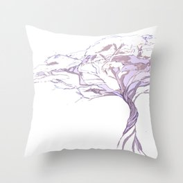 Quiet Acacia Zen Tree , Earthy African Bonsai Peace Lavendar Purple Throw Pillow