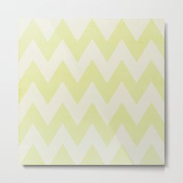 Grey and Lime Green Textured Chevron Pattern Metal Print